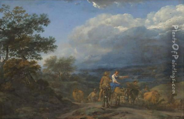A Hilly Landscape With Herdsmen And Cattle Oil Painting - Nicolaes Berchem