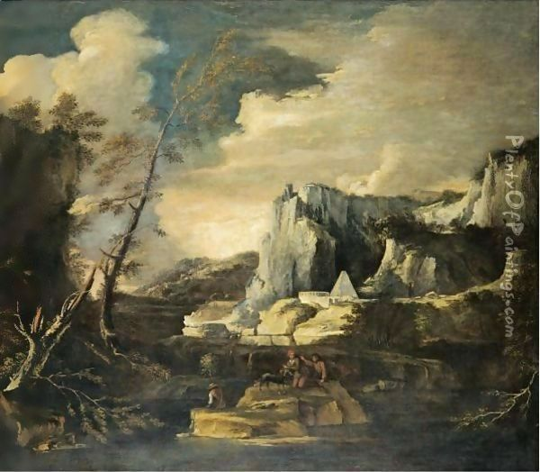 An Extensive River Landscape With Figures Fishing And Playing With A Dog In The Foreground Oil Painting - Salvator Rosa