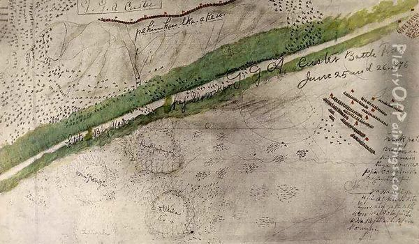 Topographical chart of the battlefield of the Little Big Horn Oil Painting - Amos Bad Heart Buffalo