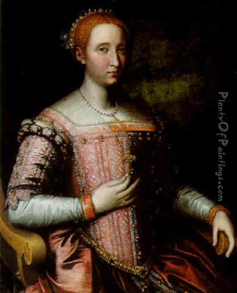 Portrait Of A Lady Wearing A Pink Dress Adorned With Pearls Oil Painting - Sofonisba Anguissola