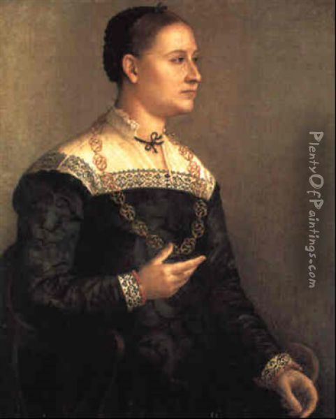 Portrait Of A Lady Wearing An Embroidered Black Dress And A Gold Chain Oil Painting - Sofonisba Anguissola