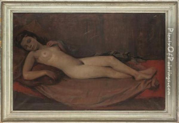 Reclining Nude Oil Painting - Henri Bacher