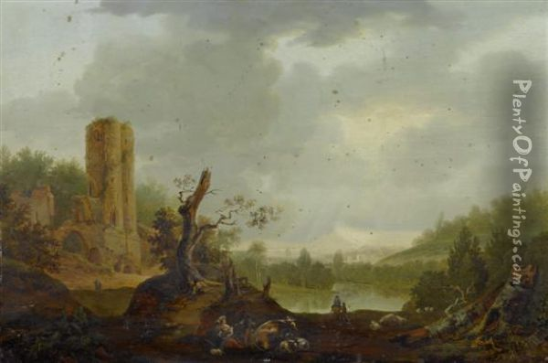 Peasant Couple Resting Before A Ruin Oil Painting - Nicolaes Berchem