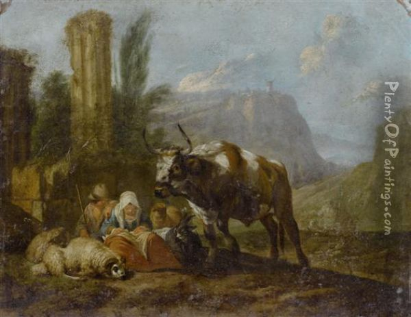Herdsman And Woman With Cattle In A Landscape Oil Painting - Nicolaes Berchem