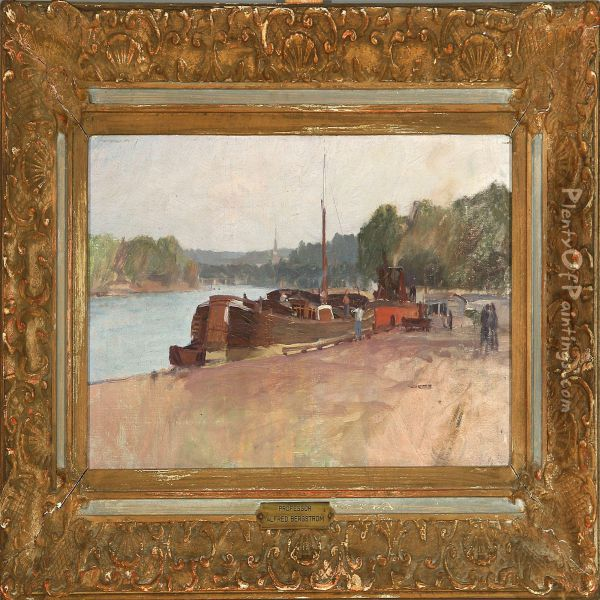 View Of A French River Oil Painting - Alfred Bergstrom