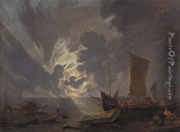 A Coastal Landscape At Sunset With Stevedores And Shipping Oil Painting - Lieve Pietersz Verschuier