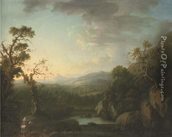 An Extensive River Landscape With A Figure And Horse On A Path In The Foreground Oil Painting - John Butts