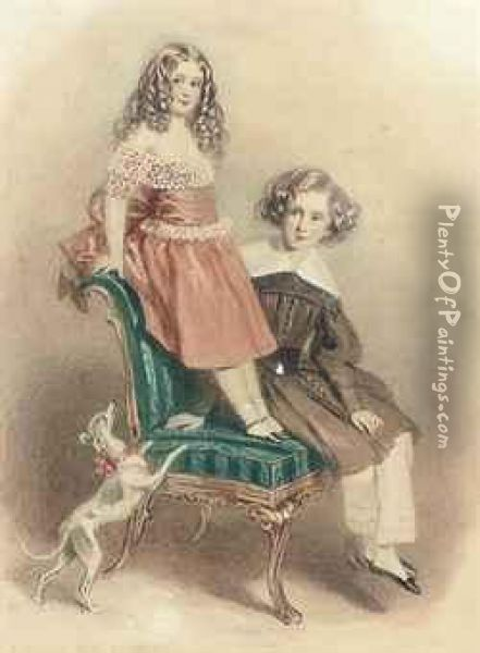 Portrait Of Lord And Lady Evelin Stanhope, The Children Of The Earlof Chesterfield Oil Painting - Alfred-Edward Chalon