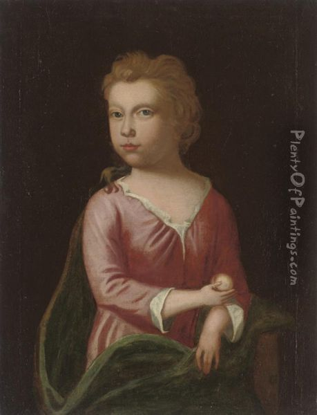 Portrait Of A Young Girl, Half-length, Holding A White Peach Oil Painting - Charles d' Agar