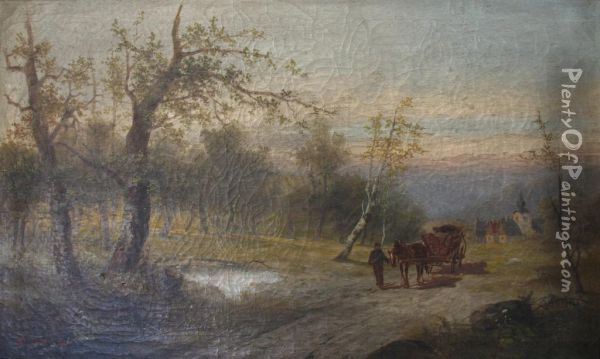 A Logging Cart On A Lane Oil Painting - Ludwig Fuger