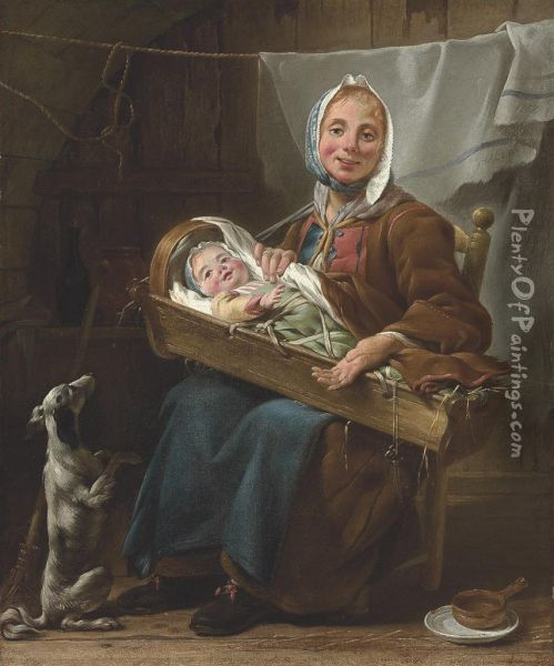 Une Savoyarde: A Mother And Child With A Dog In An Interior Oil Painting - Noel Halle
