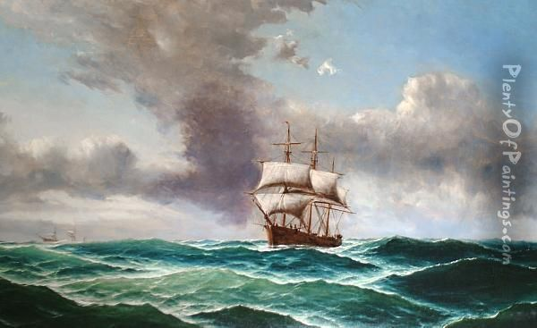 Shipping On The High Seas, Under An Impending Storm Oil Painting - Edward Hoyer