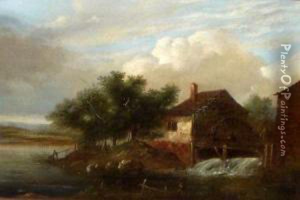 Figure Before An Old Watermill Oil Painting - Charles Morris