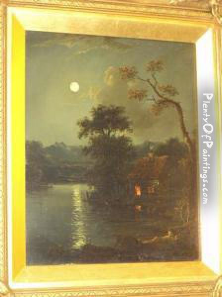 Moonlit River Scene With Cottage On The Riverbank, Together With Another, Coastal Scene With Fisherfolk Atsunset, A Pair Oil Painting - Charles Morris