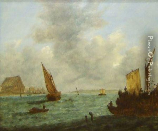 Figures In Boats In An Estuary Oil Painting - Charles Morris