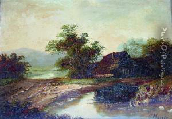 Old Barn By A Country Pool Oil Painting - Charles Morris
