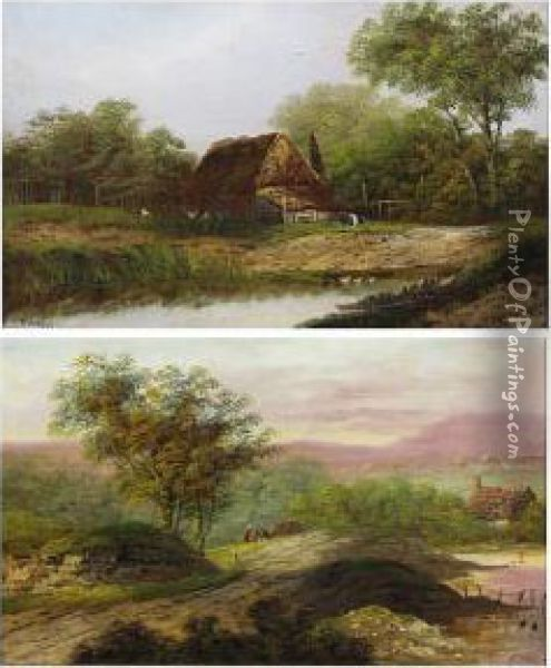 Rustic Dwelling By A Pond Oil Painting - Charles Morris