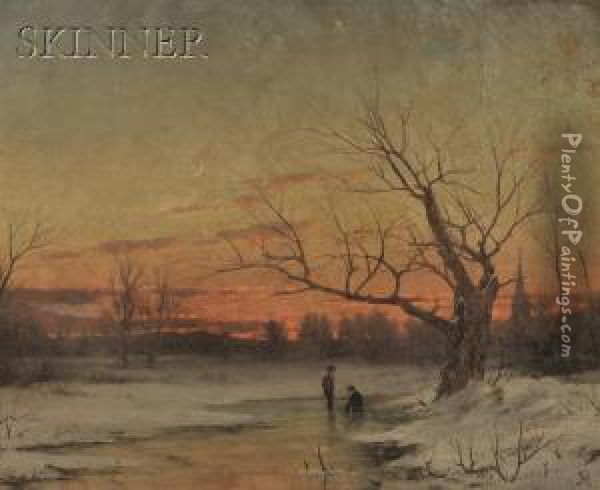 Two Figures On A Frozen Winter Stream At Dusk Oil Painting - John Adams Parker