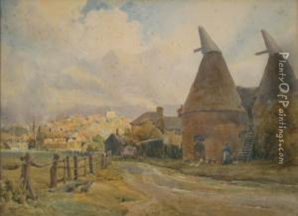 Landscape With A Woman Feeding Chickens Outside Oast Houses, Late 19th Century Watercolour, Signed, Approx 27cm X 37.5cm Oil Painting - Joseph Rubens Powell